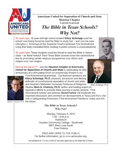 Americans United:  The Bible in Texas Schools? Why Not?