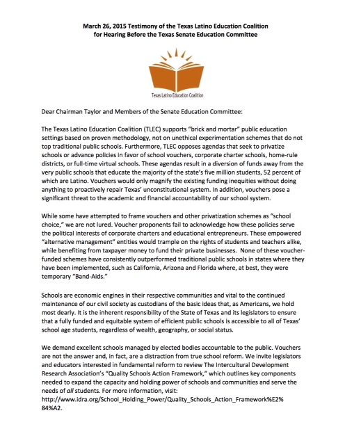 TLEC statement on vouchers (March 2015)